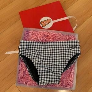 Speedo black & white checkered swim brief swimwear